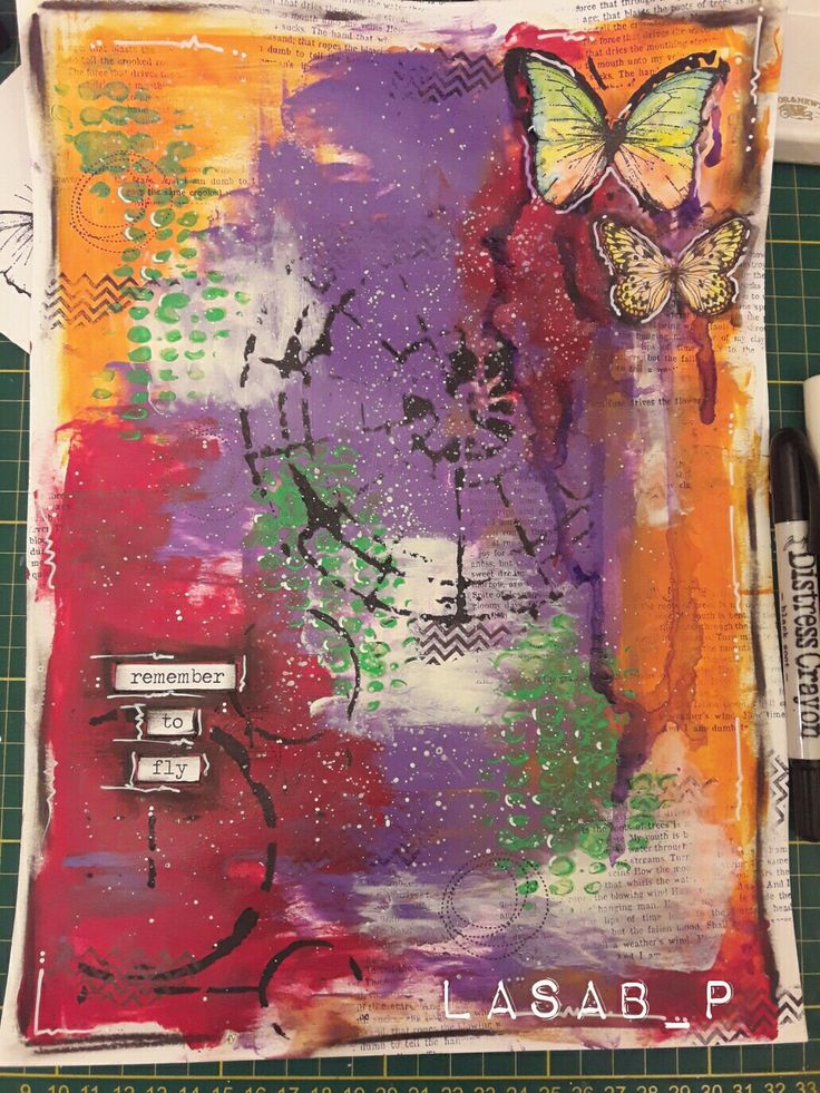 Mixed media with acrilic paint