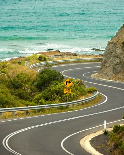 Drive the Great Ocean Road in southern Australia. Or the Pacific Coast Highway.