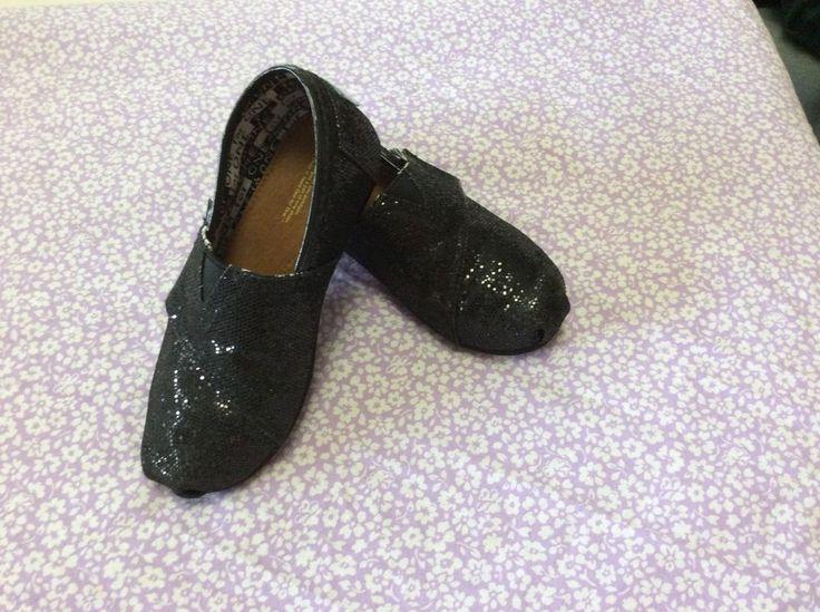 Black Sequin Kids Toms Size 10 #Toms #CasualShoes
