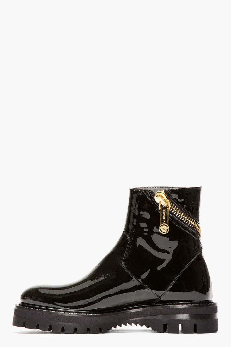 VERSACE Black PATENT LEATHER wrap-zip BOOTs