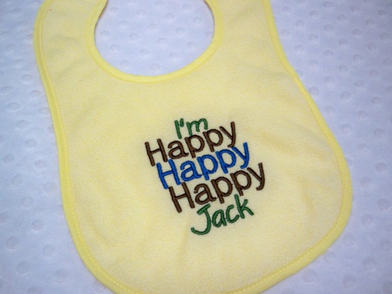 Duck Dynasty Inspired Baby Bib - I'm Happy Happy Happy Jack Duck Dynasty Bib - Yellow Baby Boy Duck Dynasty on Etsy, $7.99