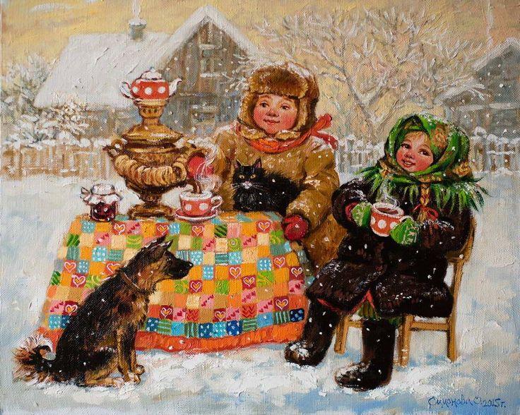 Картины (живопись) : Чаепитие по_русски