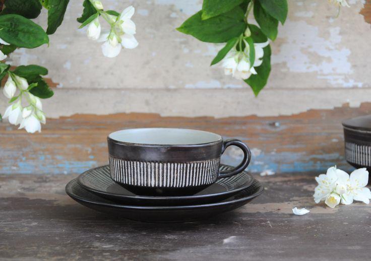 Jette Helleroe tea set. Amazonas Cup, saucer and plate - Design for BR. Modern Danish Studio ceramic. Scandinavian modern by FridasVintage on Etsy
