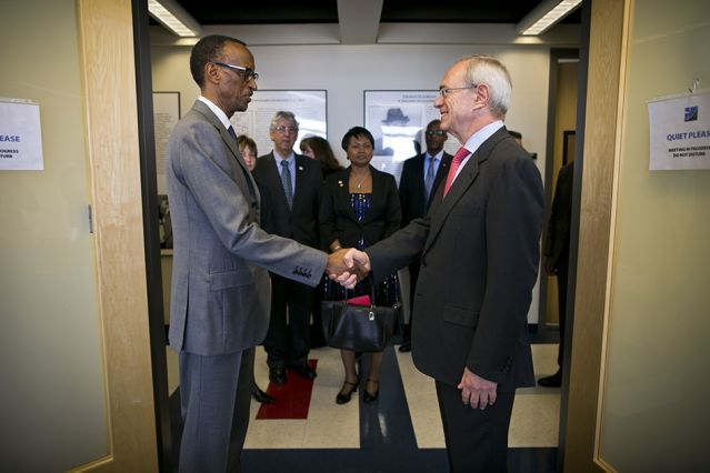Rwandan President Paul Kagame visits #MIT   MIT President L. Rafael Reif and Professor Maria Zuber host discussion about collaborations; climate-change observatory in the works.