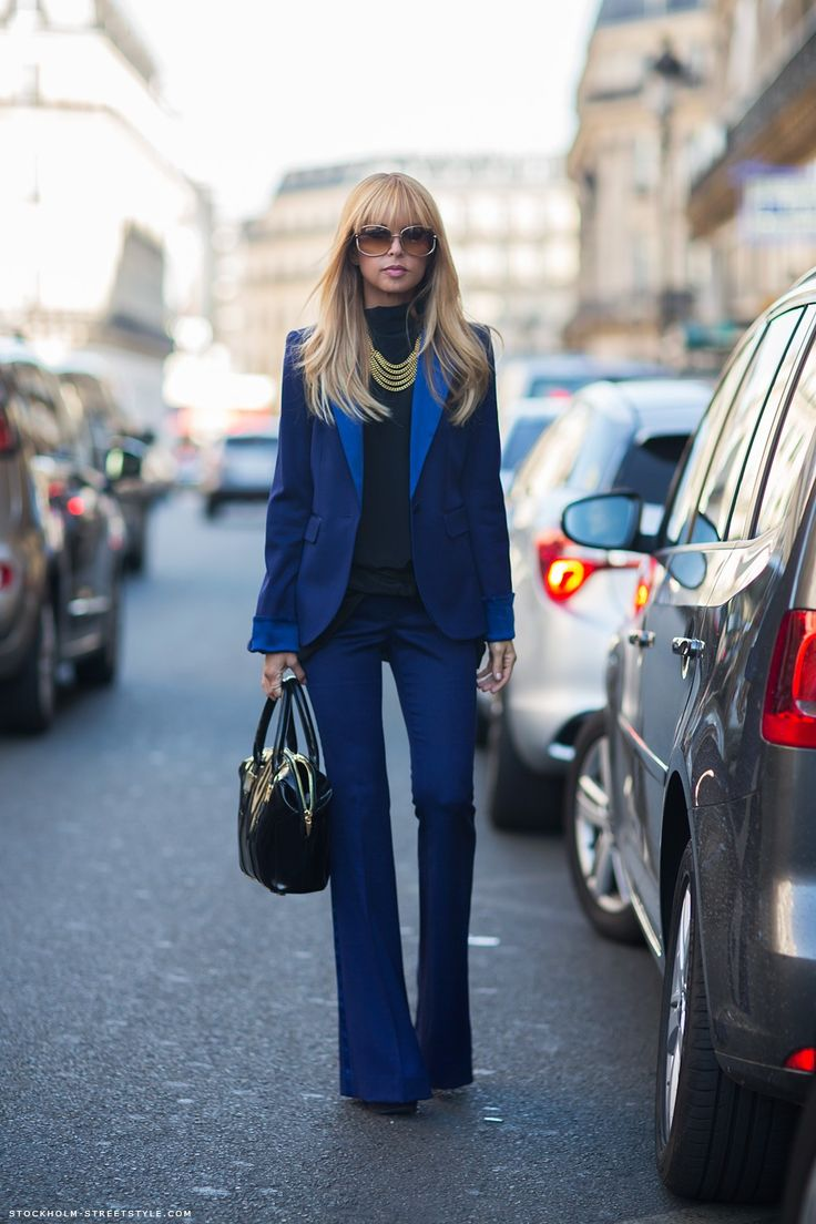 Rachel Zoe Wearing Blue Hutton Suit By Rachel Zoe To The Giambattista Valli Spring 2013 Presentation Paris Fashion Week.