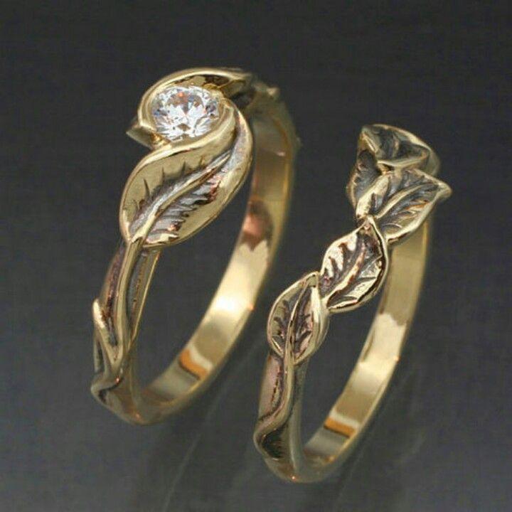 Nature inspire wedding ring set