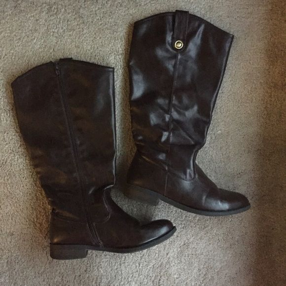 Maurices Wide Calf Riding Boots Classic dark brown riding boots from Maurices. Muscular legged women rejoice - these are wide calf!!! In used condition, but have a lot of life left. Small tear on the back of the left boot at the top. Bundle or make offer for discount. Look great paired with blazer and button down - see navy blazer listing for another pic. Maurices Shoes