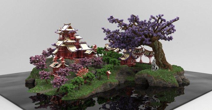 Sakura Island Cherry Tree Minecraft Building Inc Minecraft Projects Minecraft Modern Tree
