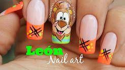 decoracion de uñas caricaturas leon - YouTube