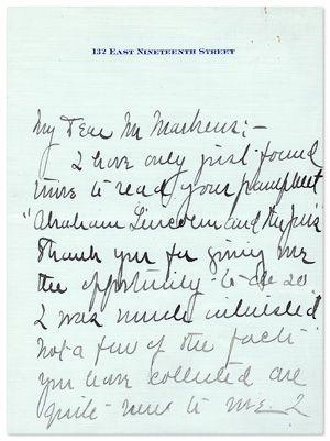 Abraham Lincoln Biographer Ida Tarbell Salutes Markens
