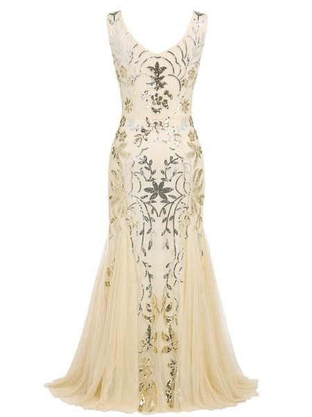 79df4cd1923c Apricot 1920s Sequin Maxi Dress – Retro Stage - Chic Vintage Dresses and  Accessories