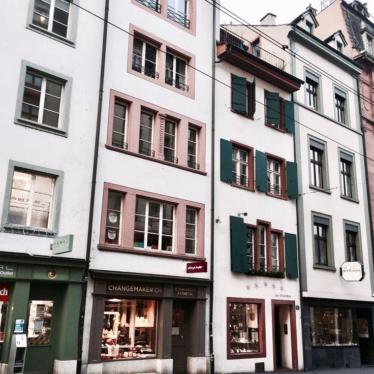 basel switzerland europe winter architecture grandeur colourful facades street view