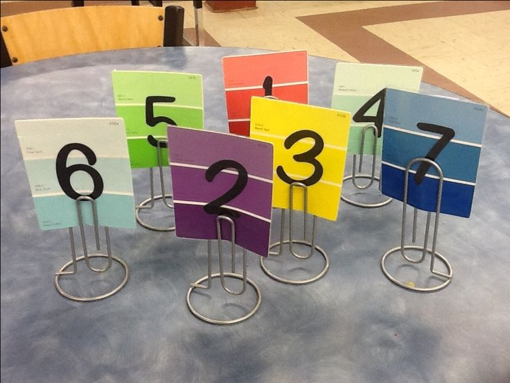 Numbers for my classroom tables made from paint samples, a Cricut, & laminated t…
