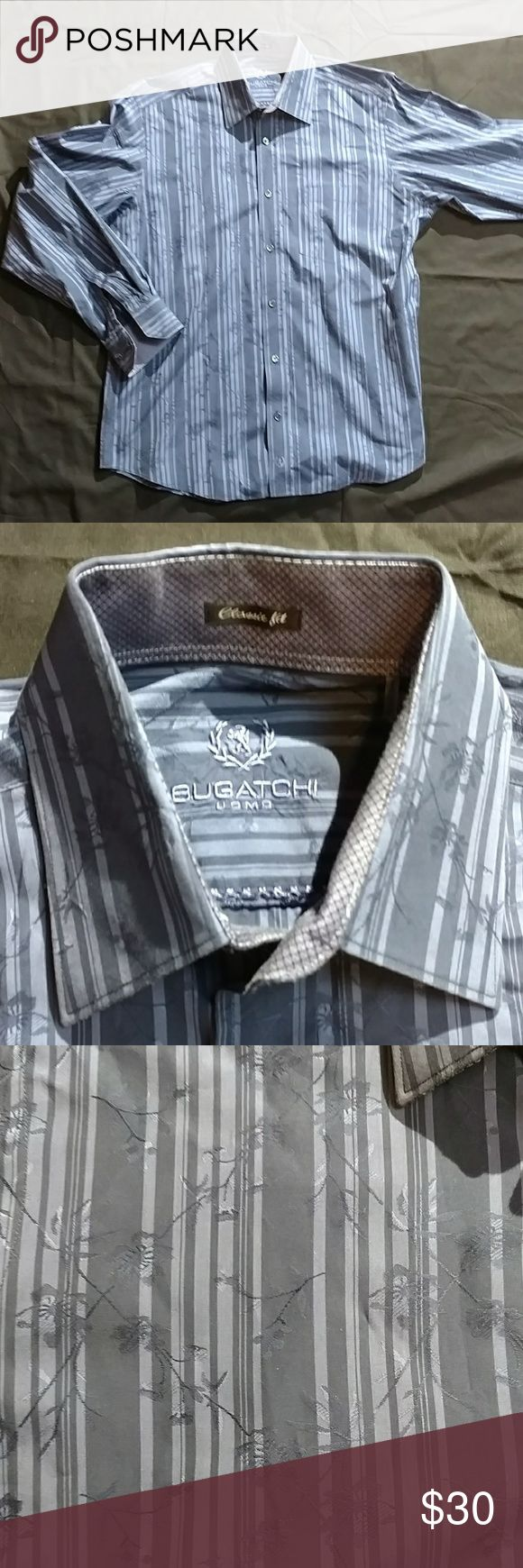 Men's medium classic fit Bugatchi shirt Rich blue coloring with a latticework pattern, this is a shirt that will get you noticed. Bugatchi Shirts Casual Button Down Shirts