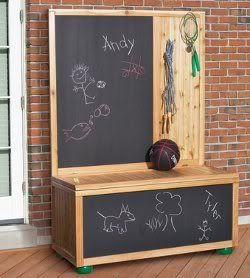 Toy Box Idea...love it! I just think it would be a little messy with the chalk... maybe white board instead?
