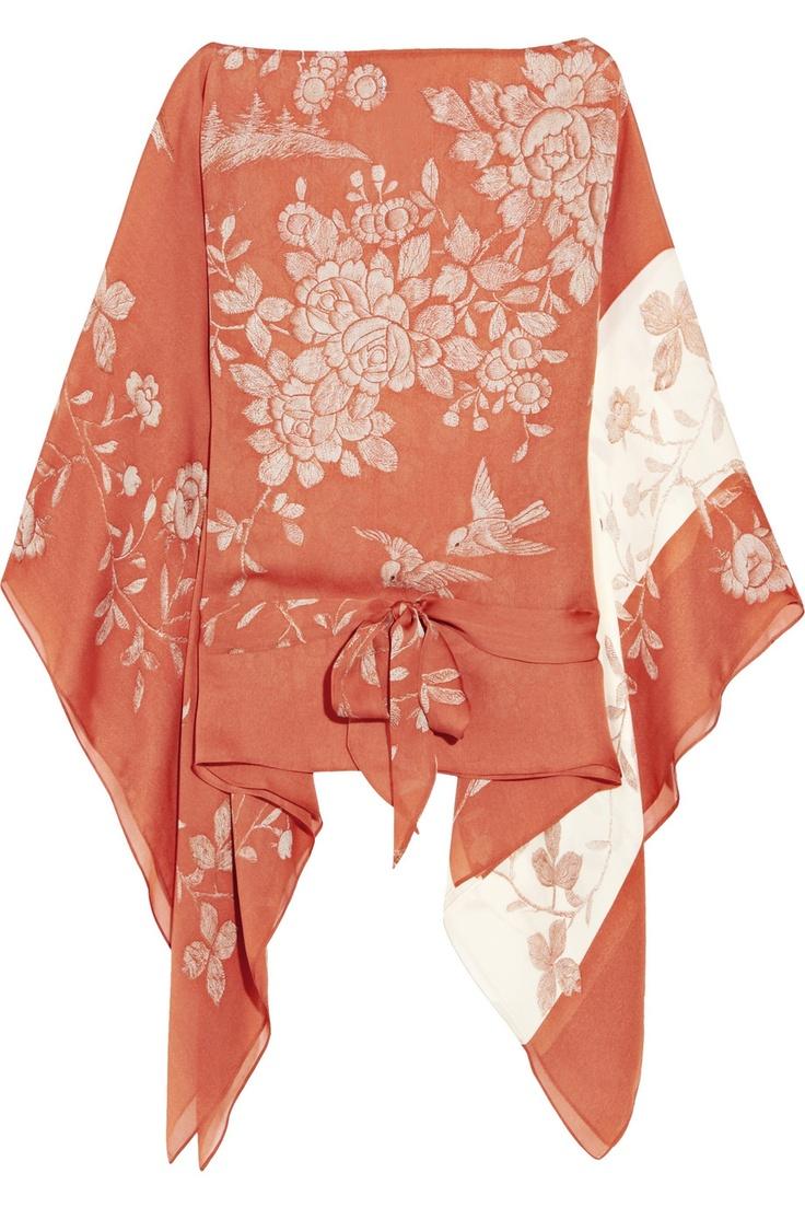 Floral-print silk-chiffon blouse by Roberto Cavalli