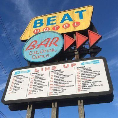 Image result for Beat Hotel Glastonbury sign