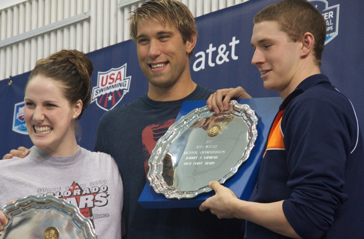 Ryan Murphy, Matt Grevers, and Missy Franklin - high point award at Nationals