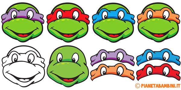 Maschere delle Tartarughe Ninja da Stampare, Ritagliare e Colorare