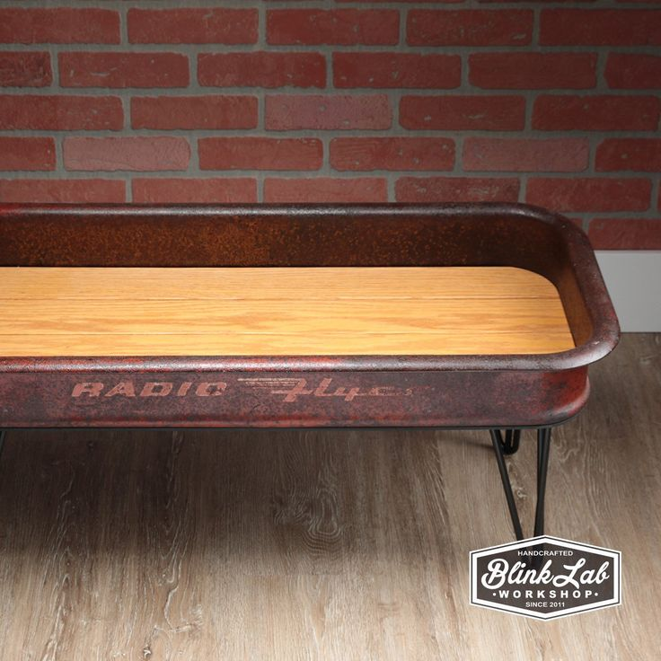 Newest addition to the shop, a repurposed Radio Flyer wagon coffee table.