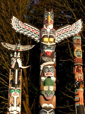 In the western hemisphere, totem Poles are hand carved columns first made by the early Indian tribes of the Northwest. A totem is a carved wooden object, more often than not an animal representing a family or a tribe. It symbolizes a symbolic relationship between nature and humans. Totem poles often have very interesting religious and historical meanings interpreted through the mythical beings from the familial history