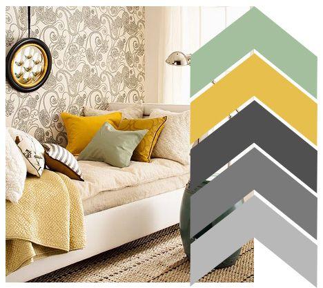 seafoam + mustard + shades of gray. Basement....NEW BEDROOM COLOR SCHEME