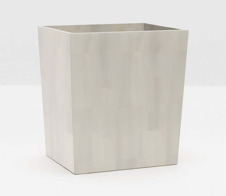 Pigeon & Poodle Arles Rectangular Wastebasket in White Faux Horn and Optional Tissue Box from The Well Appointed House