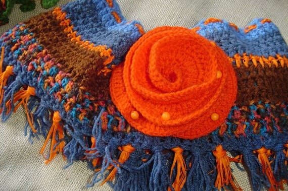 Multicolor crochet scarf/shawl with an orange rose