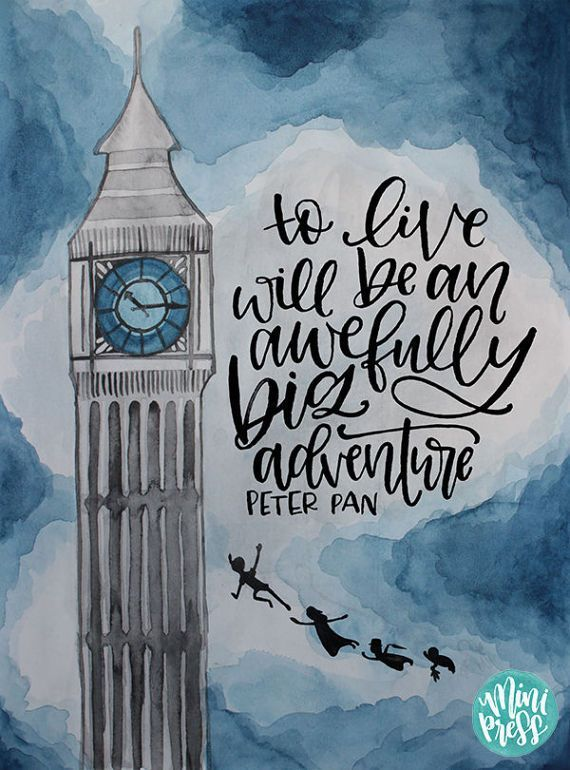 """To reside will likely be an awefully large journey"" – Peter Pan  Quote Artwork Print on Etsy…"