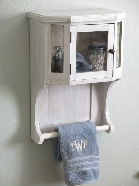 Unique White Bathroom Wall Cabinet with towel Rack