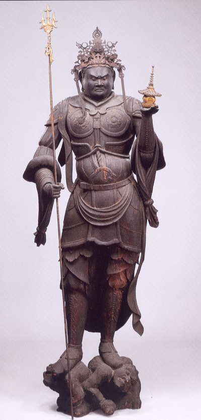 Japanese, Bishamonten is the god of warriors (but not of war) and prayed to for…