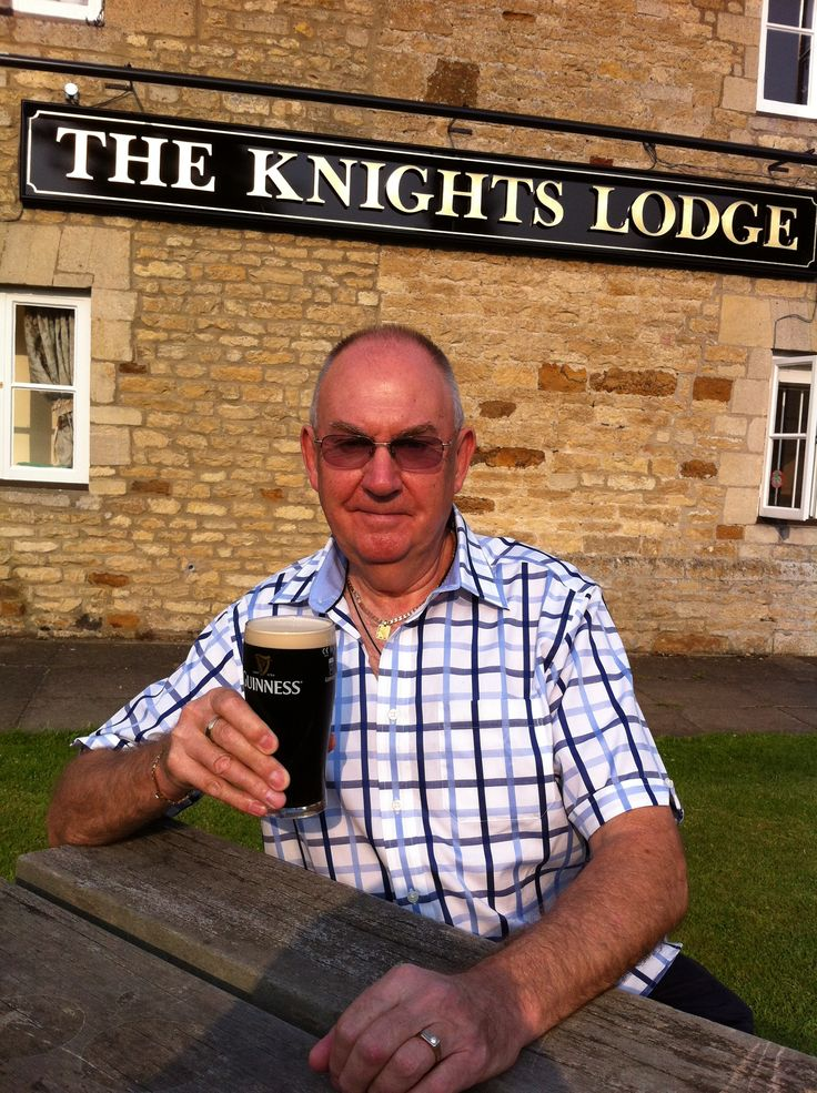 Enjoying a Guinness during an English summer (2013) at The Knights Lodge, Corby, Northants