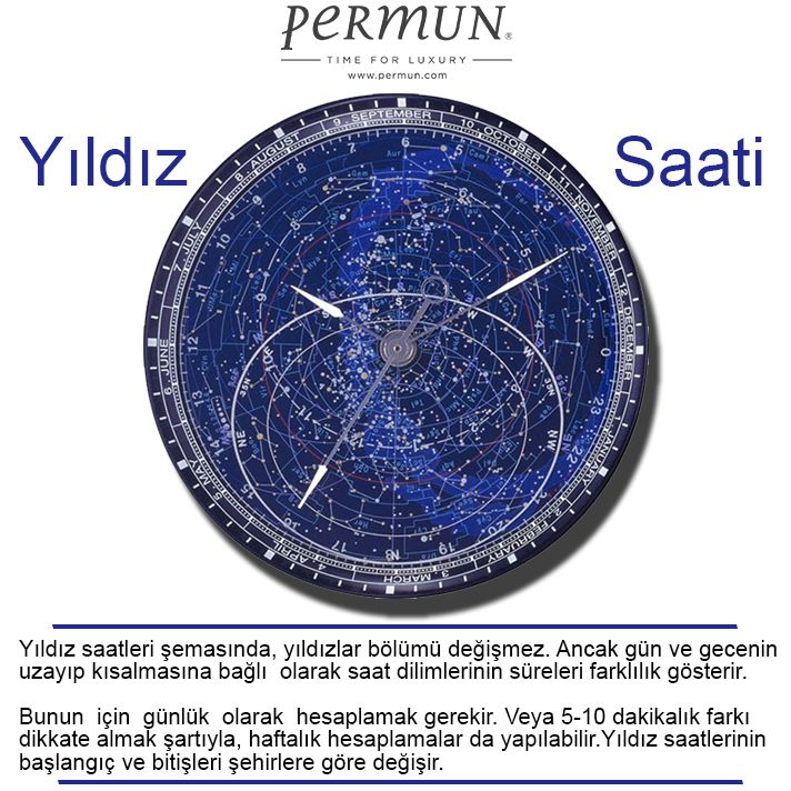 """YILDIZ SAATİ NEDİR?  """"A star clock (or nocturnal) is a method of using the stars to determine the time. This is accomplished by measuring the Big Dipper's position in the sky based on a standard clock, and then employing simple addition and subtraction. This method requires no tools; others use an astrolabe and a planisphere.""""  www.permun.com  %100 Güvenli Online Satış Mağazamız: www.markasaatler.com  """"Orjinal Ürün / Aynı Gün Kargo""""  Tel: 0 (224) 241 31 31  #watches #watchturkey #horology…"""