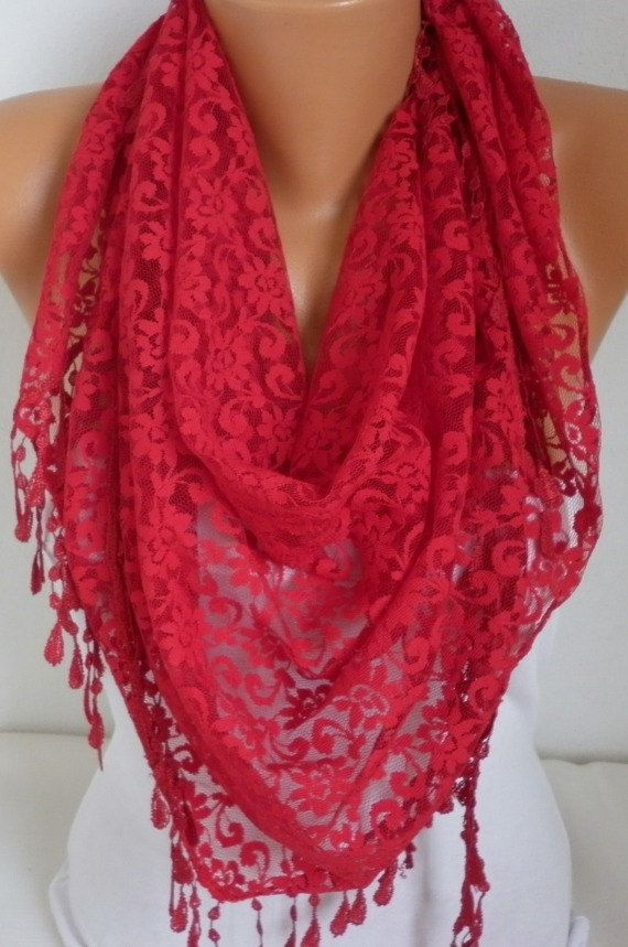 ON SALE   Red Lace Scarf   Shawl Scarf Women Scarves Cowl by anils