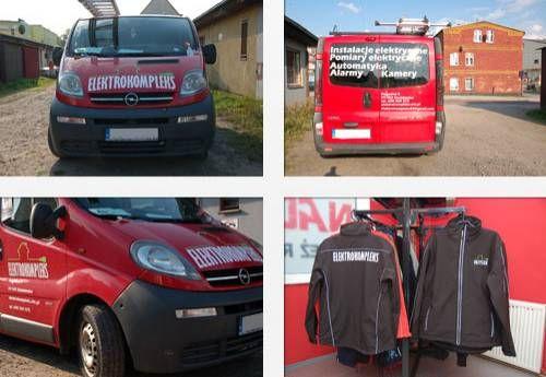 Realizacja dla Elektrokompleks Nadruki na odzieży oraz Reklama na samochodzie Opel Vivaro