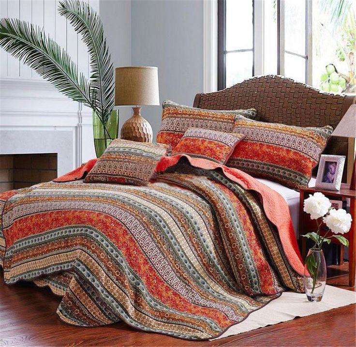 Best Striped Classical Cotton 3-Piece Patchwork Bedspread/Quilt Sets ,Queen