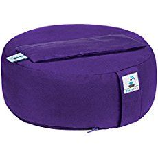Zentra Zafu Rondo Meditation Cushion with BONUS Eye Pillow. Filled with Buckwheat Hull. Made with Premium Grade High GSM Fabric. Washable Cover with Separate Inner Lining. Purple Color