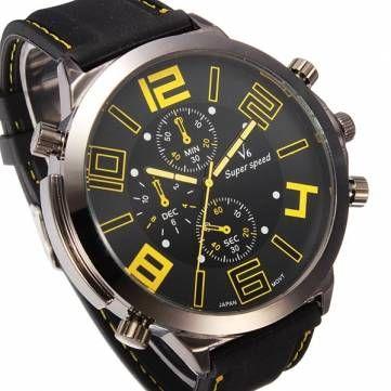 V6 Quartz Sport Big Dial Fashion Casual Wrist Watch - US$6.99