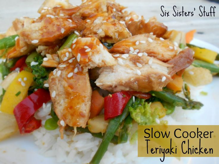 CKN TERIYAKI STIR FRY CROCKPOT:  -4-6 chicken breasts (I usually use frozen breasts)  -One bottle of your favorite teriyaki sauce (we love Kikkoman Teriyaki with the sesame seeds in it- it is so flavorful and good! Make sure that you use sauce and not a marinade.)  -A bag of frozen stir-fry veggies  -Rice (brown or white works)