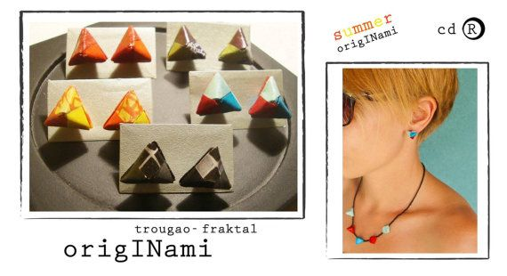 Origami small earrings made of paper in different colours. One set made of 3 pairs of earrings you can combine on your own. Choose your perfect