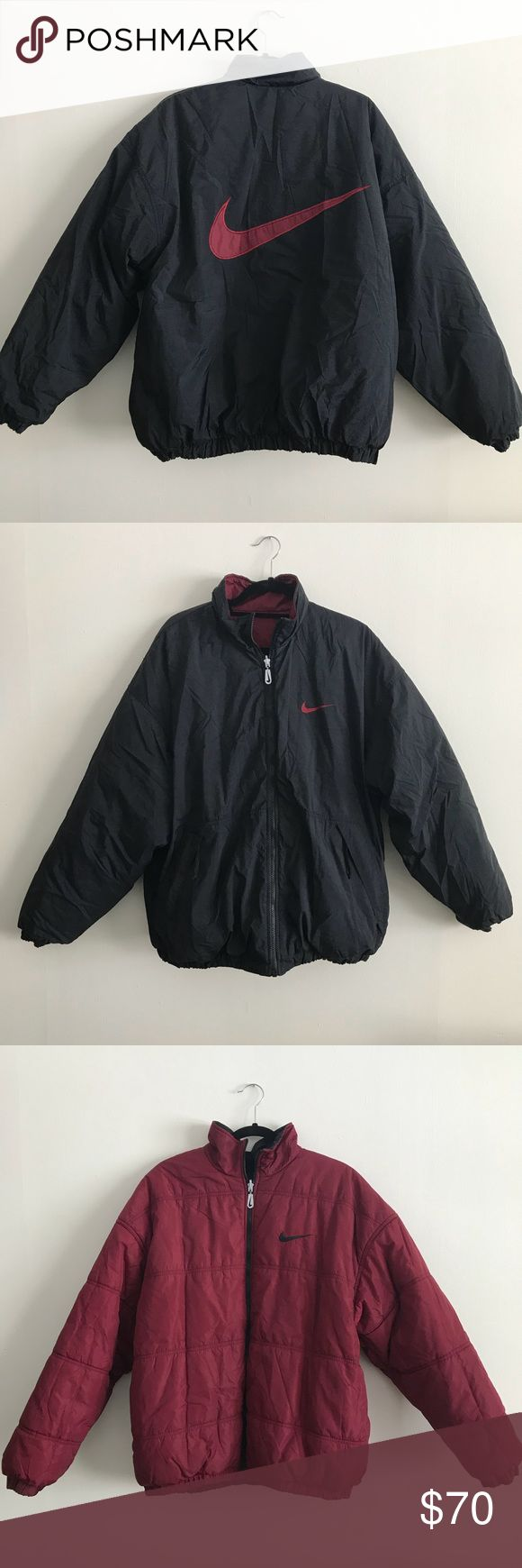 Vintage Reversible Nike Coat Get two looks for the price of one with this vintage reversible Nike coat in size large! Great vintage condition with no stains or holes. Features two front pockets. Nike Jackets & Coats
