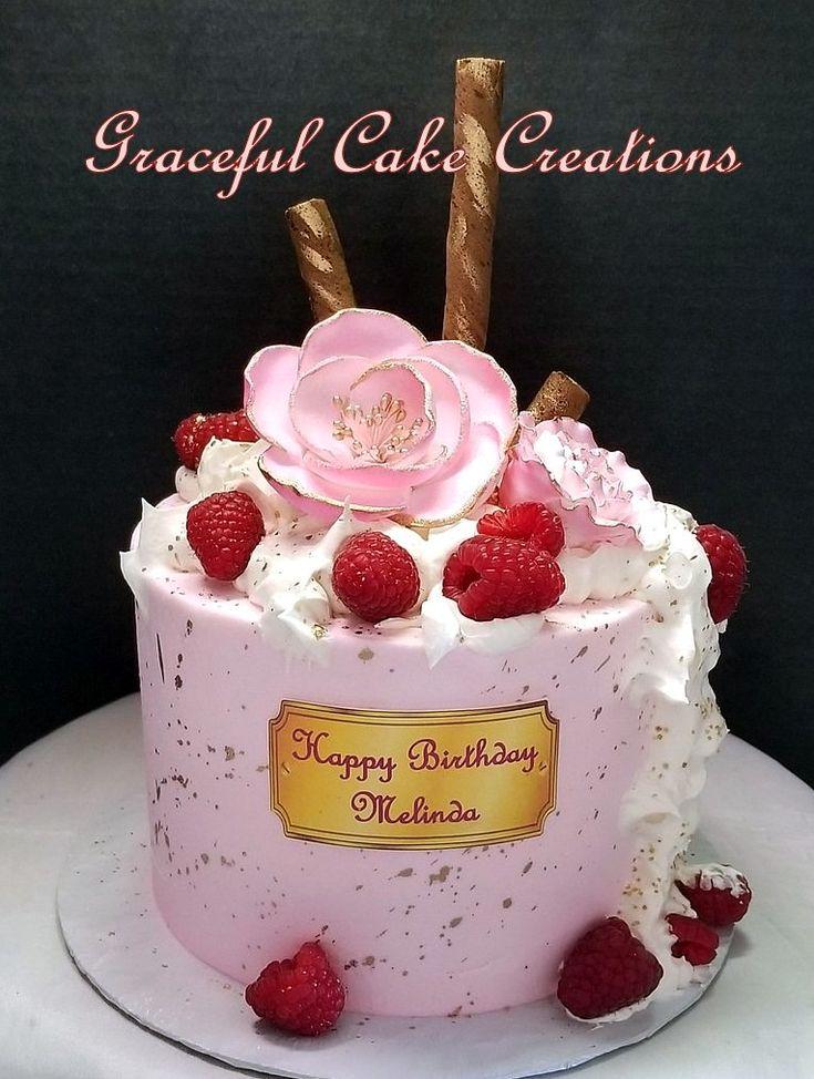 Elegant Pink Butter Cream Birthday Cake with Gold Flecks