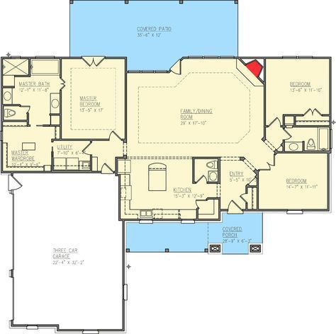 Stand-Out Ranch House Plan - couple of minor tweaks and I would love this house