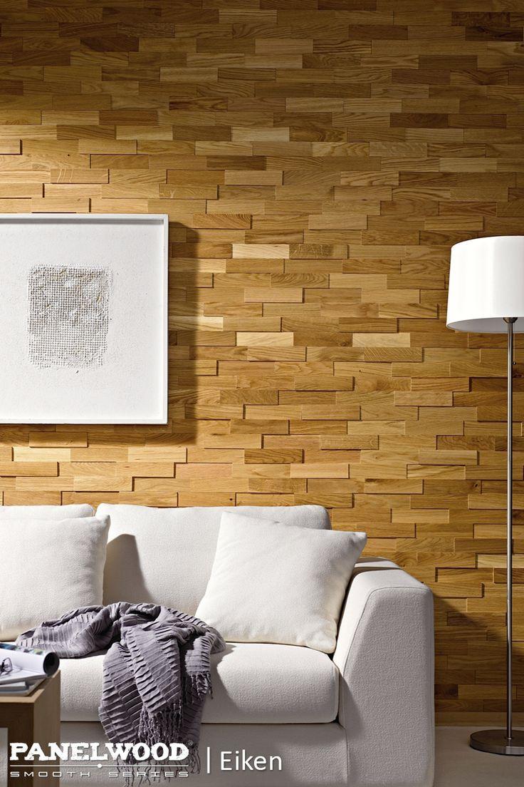PanelWood - Smooth | Eiken PanelWood geeft uw wanden een speciale 3D look met een zeer exclusieve uitstraling. Gemaakt van massief hout en afgewerkt met UV-uitgeharde hardwax zorgt PanelWood voor een unieke sfeer in uw woon- of slaapkamer. Ook de badkamer behoort tot de mogelijkheden, doordat de houten wandpanelen zelfs toepasbaar zijn in vochtige ruimtes.