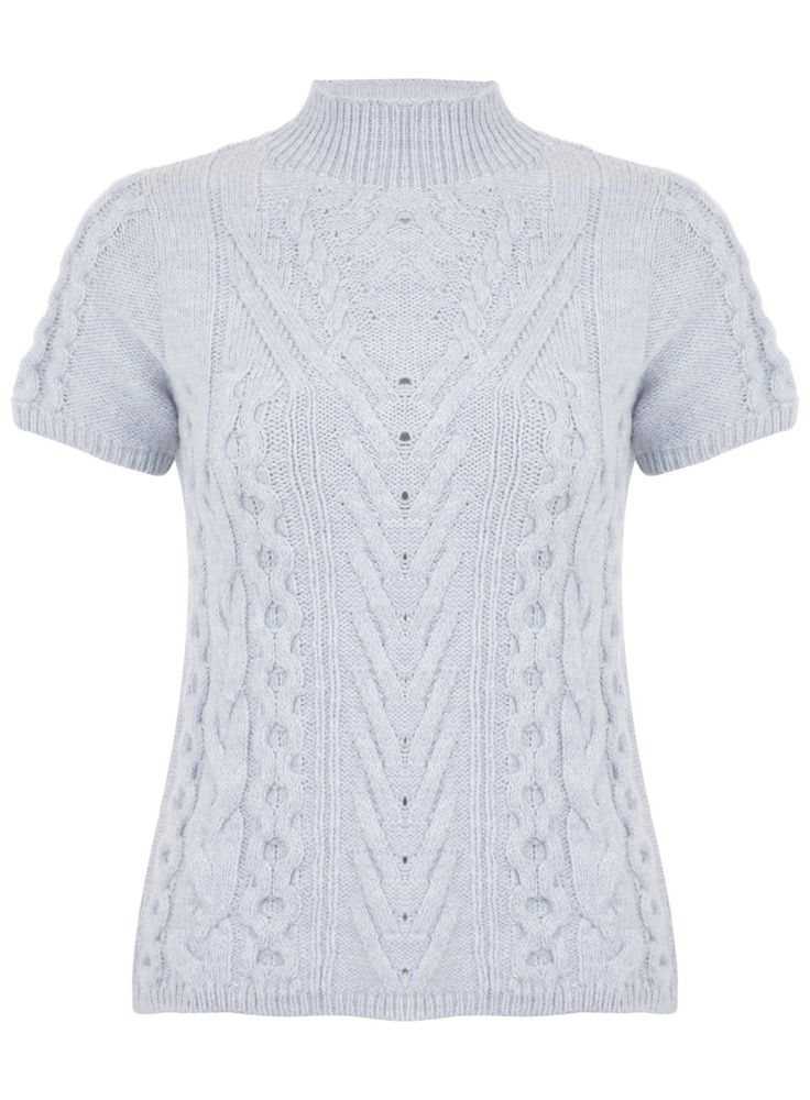 Blue Cable Short Sleeve Jumper