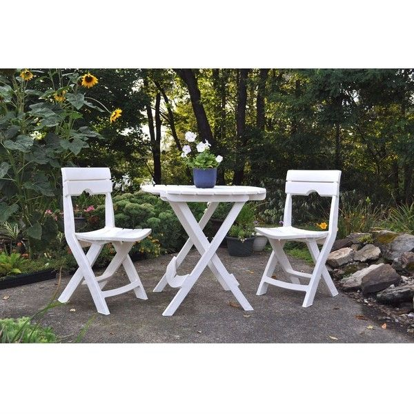 3 Piece Folding Outdoor Patio Furniture Bistro Set In White ($196) ❤ Liked  On Polyvore Featuring Home, Outdoors, Patio Furniture, Outdoor Patio Sets,  ...