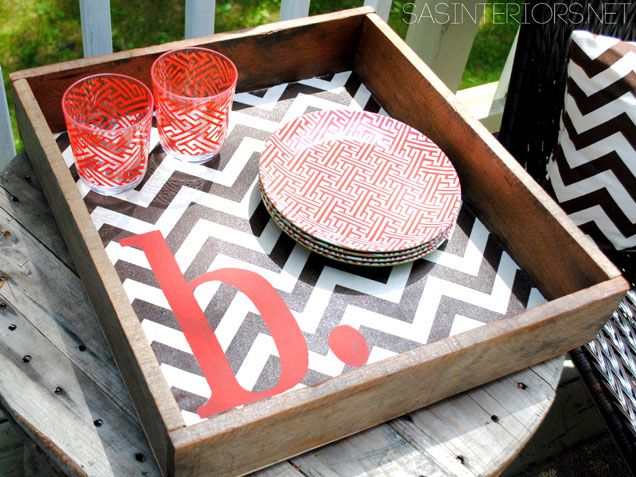 Serve your guests on a DIY tray. We love this chevron design! http://www.ivillage.com/diy-home-projects-do-summer/7-a-537810