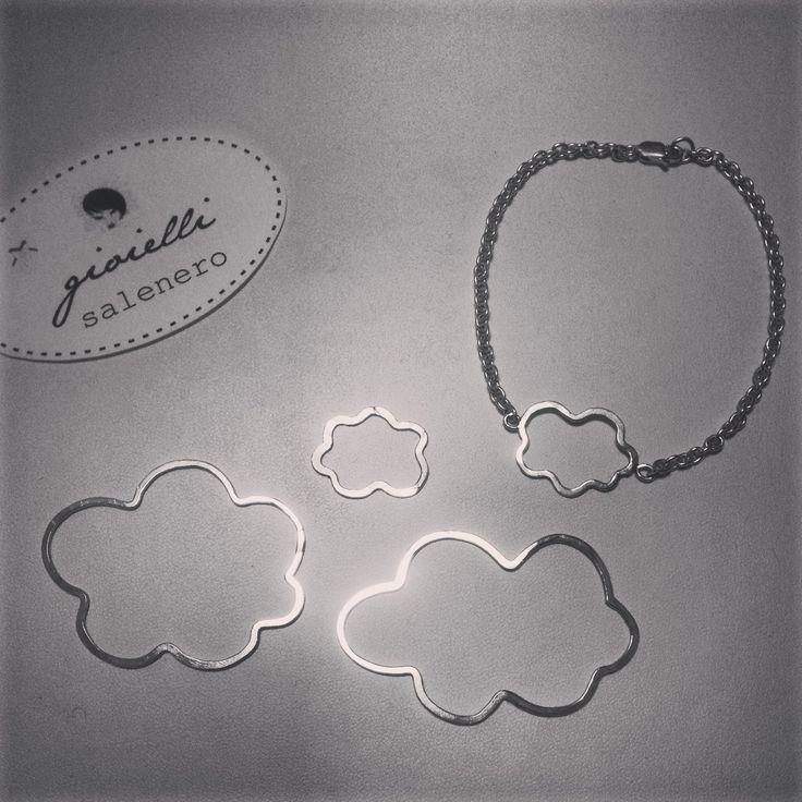 silver handmade jewellery / bracelet pendant necklace / clouds / by salenero.com