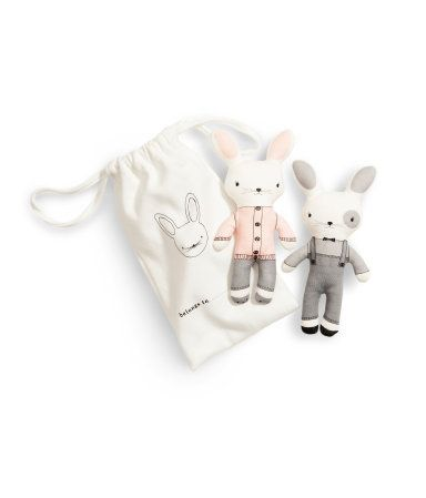 100% cotton bunnies in a drawstring bag. Affordable + adorable.