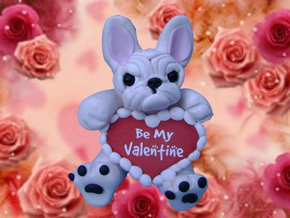 Light Creme colored French Bulldog Valentines sculpture OOAK handsculpted by Sallys Bits of Clay on Etsy, $22.00